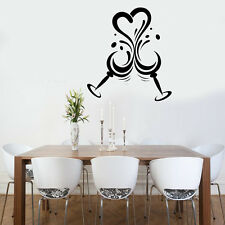Love Heart Vine / Wine glasses Quote Wall Stickers Art Room Removable Decals DIY