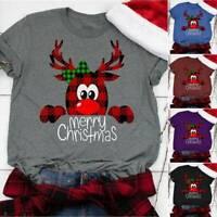 Women Christmas Short Sleeve  T-Shirt Ladies Xmas Loose Basic Tee Tops Oversize