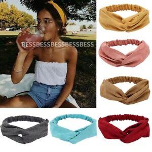 2021 Women Solid Headband Turban Elastic Headwear Wrap Hair Striped Bands