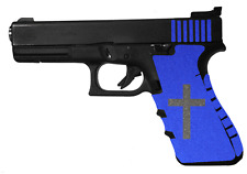 Blue PISTOL GRIP TAPE  with CROSS Inlay FITS 19  , 23 , 25 , 32 , 38 HANDGUN,