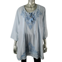 Catherines Womens Top Plus Size 2X Tunic Embroidered Tasseled 100% Cotton Blue