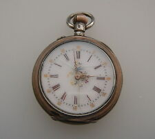 ANTIQUE BILLODES OPEN FACE SILVER 0.800 POCKET WATCH CYLINDRE 10 RUBIS