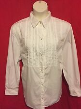 Ralph Lauren Tuxedo Bib Womens Plus Size 3X Shirt Off White 100% Cotton