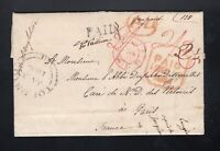 Canada 1843 Stampless PAID AT QUEBEC Transatlantic Folded Letter SFL to France
