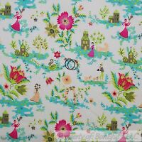 BonEful Fabric FQ Cotton Quilt White Pink Green Flower Girl Dog Shabby Chic Dot