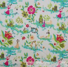 BonEful Fabric Cotton Quilt White Pink Green Flower Girl Dog Shabby Chic L SCRAP