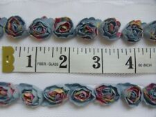 "45 pcs 3D Denim Blue Printed Fabric Mini Shell Edge Rose Trim (33"")-BT105"