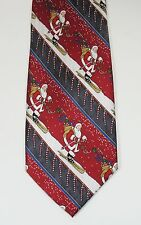 Noel SKIING SANTA CLAUS Striped CHRISTMAS TIE Hanging Candy Canes 100% SILK EUC
