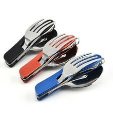 New listing Stainless Steel Folding CutterAnd Fork Three-piece Detachable Camping Tableware