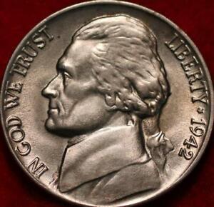 Uncirculated 1942 Philadelphia Mint Silver Jefferson Nickel