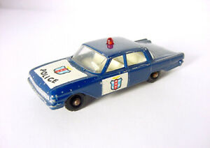 1960s LESNEY MATCHBOX NO. 55 FORD FAIRLANE POLICE CAR BLUE w RED LIGHT DIECAST