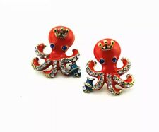 Quirky Orange Rhinestone Marine Octopus Nautical Animal Jewellery Earrings