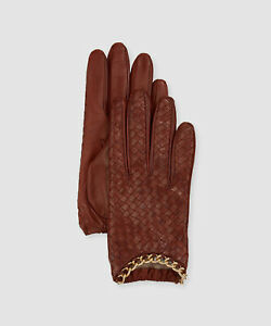NEW $225 Portolano Women Brown Leather Chain Wrist Cashmere Lined Gloves Size 8