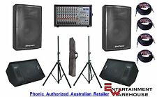 "Phonic 1082R 800W Mixer + 2 x 15"" Speakers + 2 x 12"" Monitors + Stands + Cables"