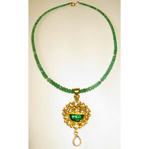 47.92ct Natural Emerald Locket Necklace 18k Yellow Gold Jewelry