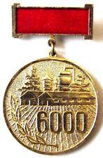 "Original Soviet Medal Pin Badge ""Club Milkmaids 6000"" USSR Farming Award"