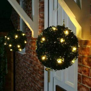 Artificial Hang Topiary Buxus Balls Solar Lights Faux Boxwood Plant Garden Patio