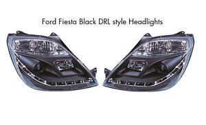 Ford Fiesta Mk6 Mk6.5 02-08 All models Black Projector R8 Style headlights