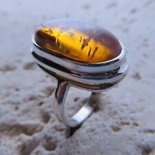 Size 8 1/2, Size Q 1/2, Size 58, Cognac BALTIC AMBER Ring, STERLING SILVER #0772