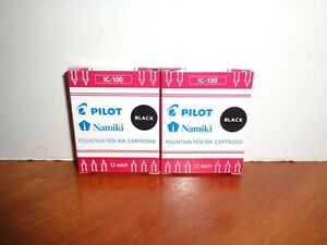 Pilot Namiki IC-100 Fountain Pen Ink Cartridge Refills 2-12 Packs Black 24 Total
