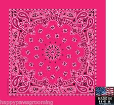 "HOT PINK PAISLEY Bandana Head Wrap Scarve BANDANNA 22"" Cotton HANKY *USA MADE"