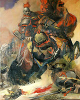Oil painting ancient Chinese generals on the battlefield - Brave invincible