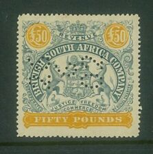 RHODESIA - 1897 £50 Large arms Revenue (Perf 15) ... VERY FINE used  (EM784)