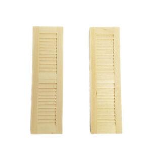 2Pcs Dollhouse Wood Window-Shades Shutters Louver Wall Miniature DIY Accessories