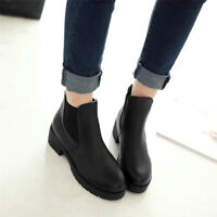 Womens Chelsea Round Toe Chunky Block Mid Heel Ankle Boots Casual Shoes Black