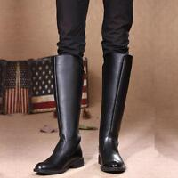 Men's Military Riding Cowboy Pull on Knee High Equestrian Boots Round Toe Shoes