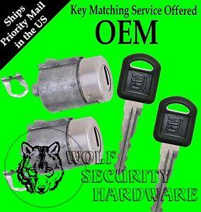 GMC Yukon Suburban 95-99 OEM Pair of Two Front Door Key Lock Cylinders 2 Keys