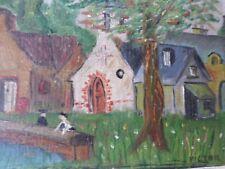 PEINTURE-Miniature-huile /bois-Village-Victor-Art populaire-painting