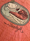 The Land of Nod Crib Quilt Coral/Pink Sleep Tight Embroidered