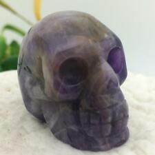 "1.5"" Natural Amethyst Carved Crystal Skull Realistic Skeleton Healing #7395"