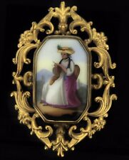 Antique Portrait Brooch Oil Porcelain Painted Pinchbeck Pin Extraordinary C.1820