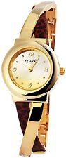 Damenuhr Gold Silber Braun Analog Metall Leder Armbanduhr Mode D-100407000070500