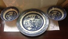 "10.25"" Johnson Bros.Blue Willow Ironstone Plate & Two Matching  Fruit Bowls"