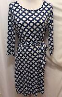 Mud Pie Dress S 4/6 Blue White Quatrefoil Print Long Sleeve Straight Sheath Tie