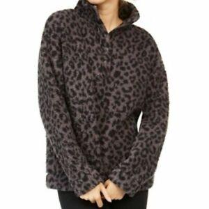 Jenni Womens XXL Faux Sherpa Cozy Pullover Lounge Top Gray Black Leopard Long Sl