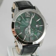 JAGUAR WATCH, SWISS MADE, SAPPHIRE CRYSTAL, GREEN, 43 MM CASE BLACK LEATHER BAND