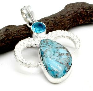 "925 Sterling Silver Turquoise & Topaz Gemstone Handmade Jewelry Pendant Size-2"""