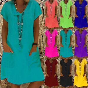 Womens Summer Baggy Ladies Casual Holiday Pockets Short Sleeve Pure Midi Dress