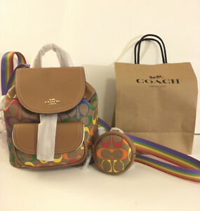 Coach rainbow backpack with coin wallet And Shopping Bag