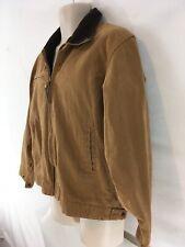 Schmidt Workwear Mens M Brown Canvas Cotton Fleece Lined Zip Front Jacket