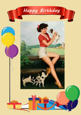 PIN UP GIRL WITH CUTE JACK RUSSELL FOX TERRIER PUPS DOG BIRTHDAY GREETINGS CARD