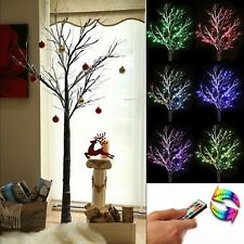 6ft Brown Colour Changing Christmas Twig Tree Pre Lit LED Lights Indoor Outdoor