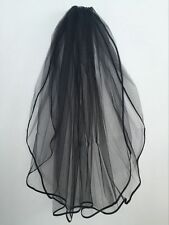 New Beautiful Black 2T Beaded Edge Bridal wedding veil with comb