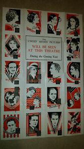 Rare United Artists 1928-1929 Silent Movie Stars Film Poster Set Charlie Chaplin