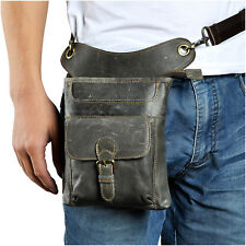 Mens Genuine Leather Fanny Pack Motorcycle Riding Messenger Waist Drop Leg Bag