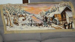 Royal Paris Needlepoint Tapestry France Winter Scene 44 x 19 unfinished minor